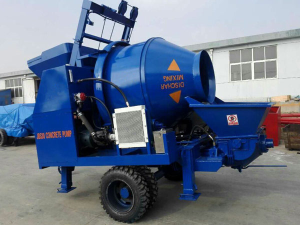Drum concrete mixer pump